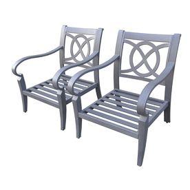 Loweu0027s: Allen Roth Set Of 2 Newstead Grey Textured Aluminum Slat Seat Patio  Chairs