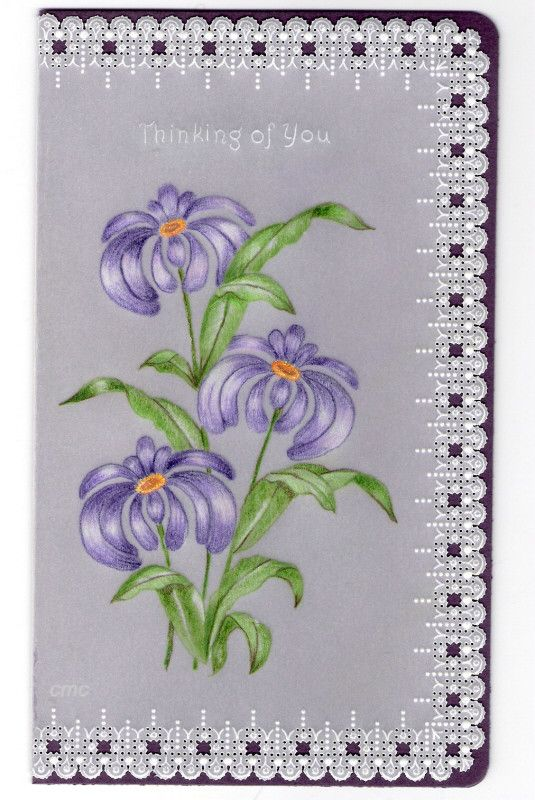 By Carolyn C.  Parchment card coloured with polychromo pencils. Purple flowers.