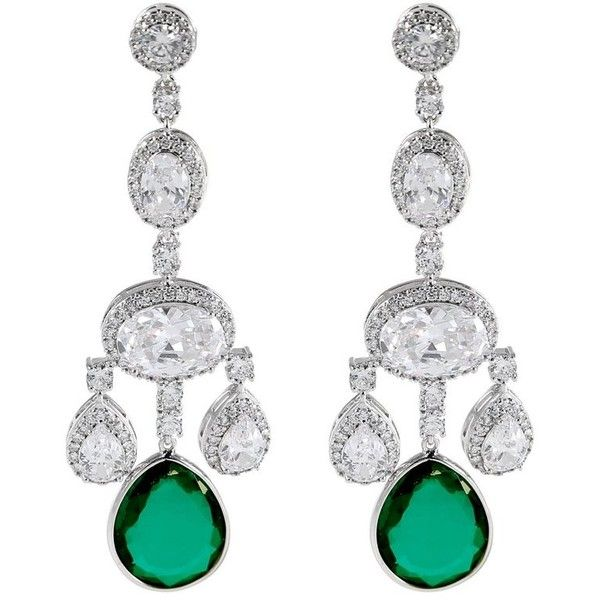 Preowned Magnificent Costume Jewelry Diamond Emerald Girandole 720 Liked On Polyvore Featuring Earrings Chandelier Green