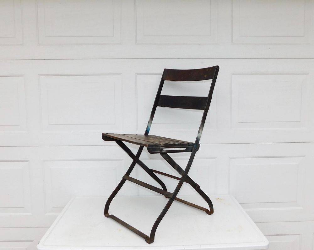 Vintage Wrought Iron And Wood Folding Bistro Chair Antique
