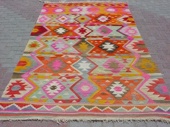 Bohemian Rugs Modern Turkish Kilim Area Rug Carpet Handwoven