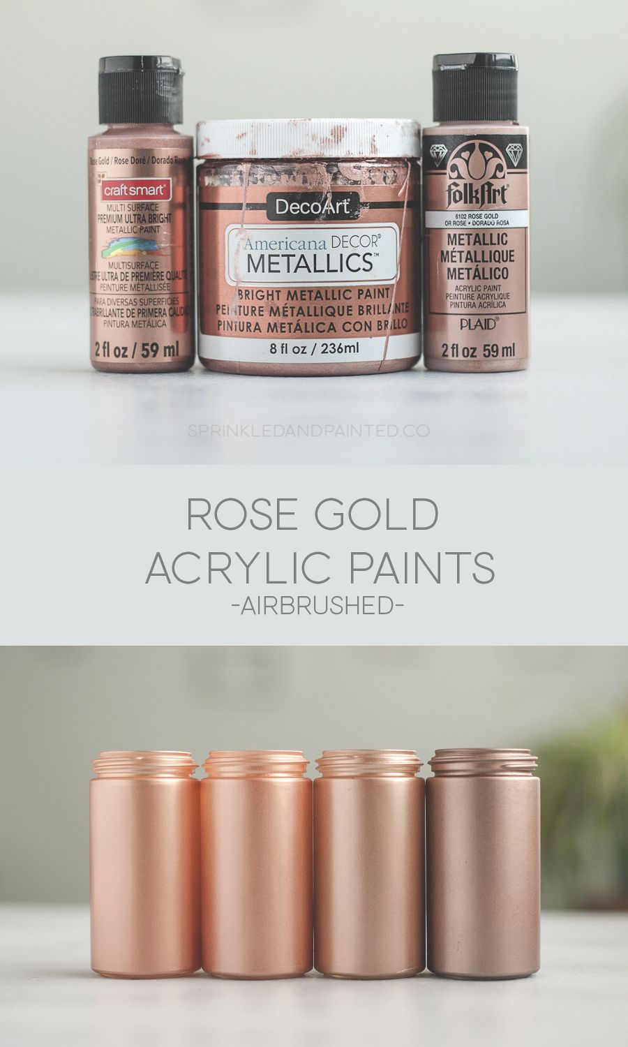 Rose Gold Acrylic Paint For Airbrushing Sprinkled And Painted At Ka Styles Co Rose Gold Painting Gold Painted Furniture Gold Acrylic Paint