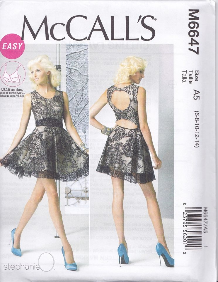 McCalls 6647 Goth Gothic Lolita Prom Cocktail Dress Sewing Pattern ...