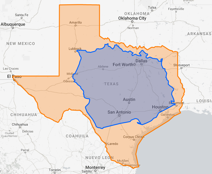 Map Of Texas Over Europe.How Big Is Texas Maps Texas How Big Is Texas Map Poland