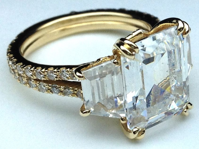 Yellow Gold Three Stone Emerald cut Diamond Vintage Style Split Band Engagement  Ring For Large Diamonds