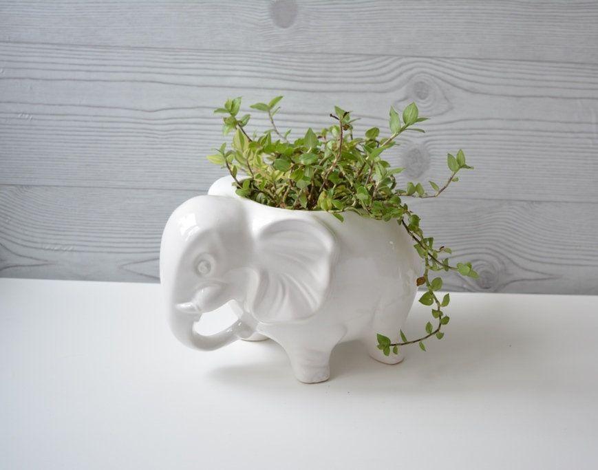 Vintage Elefanten Keramik, Jumbo Blumentopf, Übertopf, Elefantenform ...