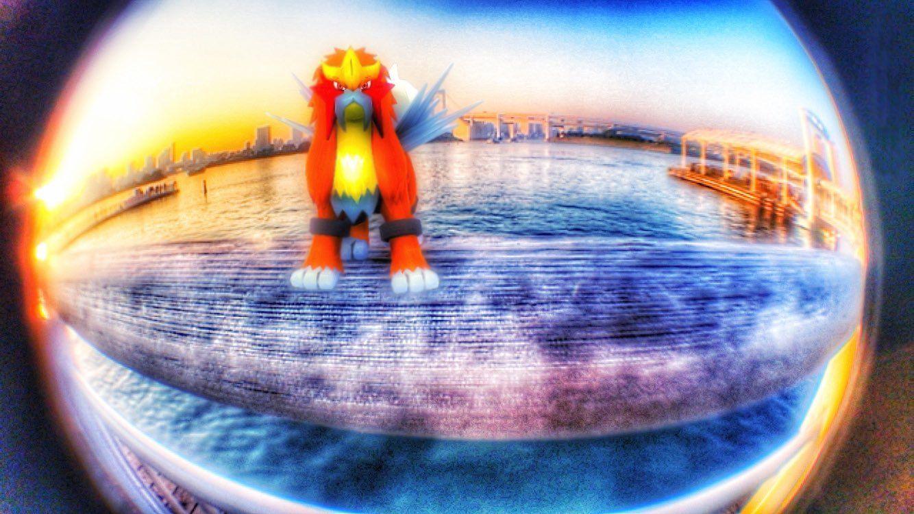 桟橋にて #エンテイを撮ろうar写真大会 #バトってポケモンarなど