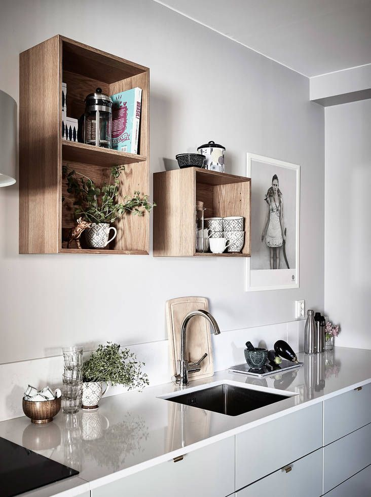 wooden boxes for a wall storage in kitchen ✘ Interior Decor