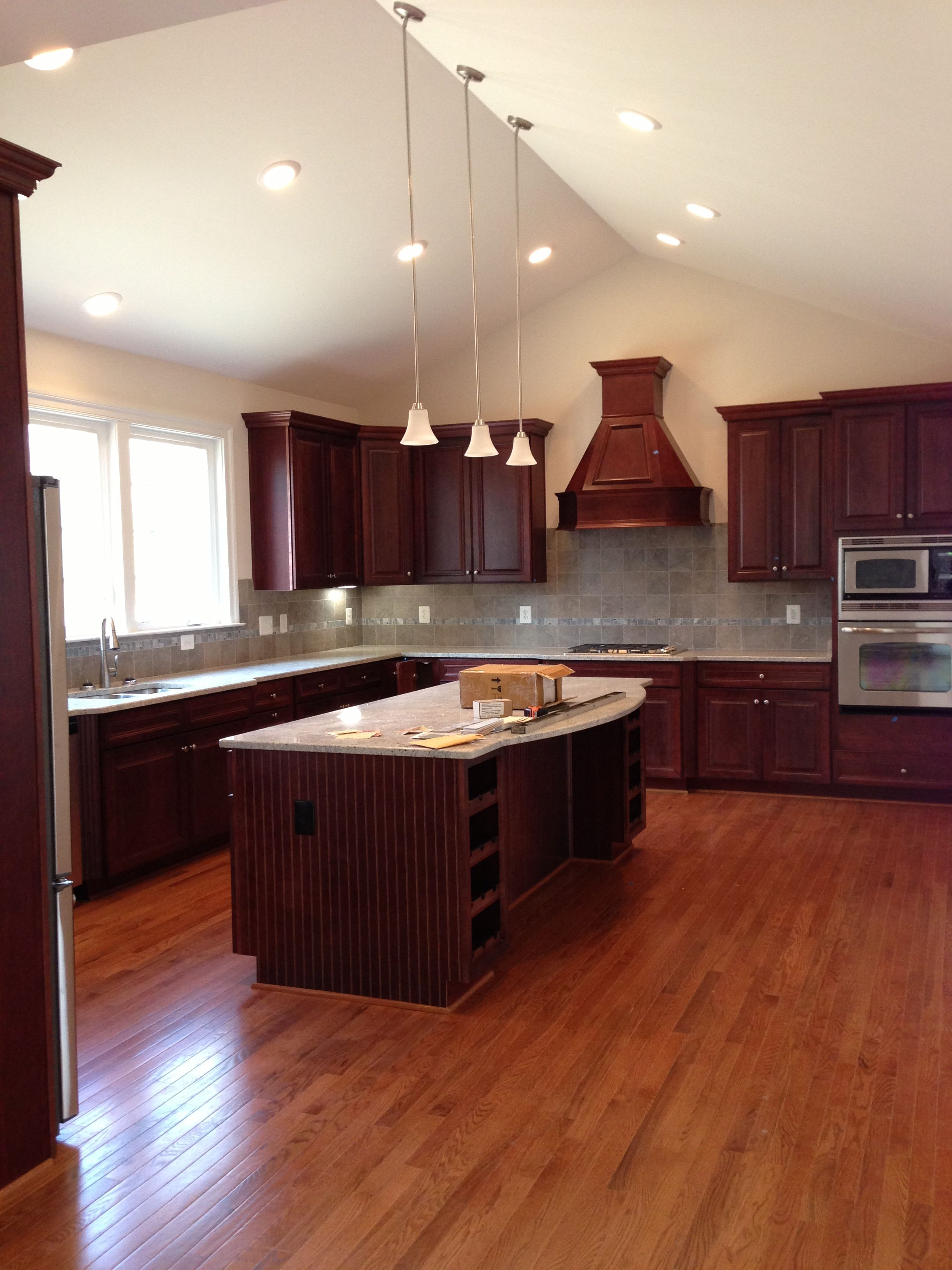 Kitchen Cherry Cabinets With Gray Tile Hardwood Floor Colors Kitchen Flooring Design My Kitchen