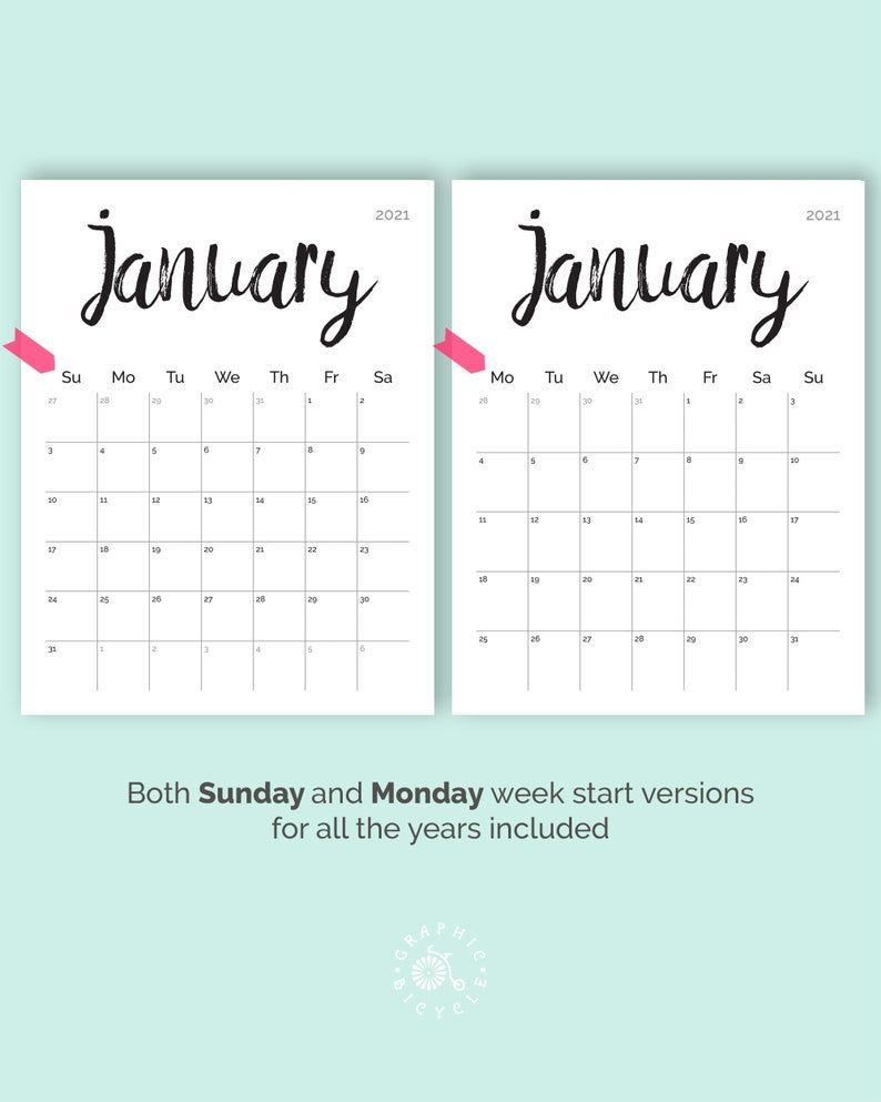 Printable Calendar 2020 2021 Desk Calendar PDF Download | Etsy in