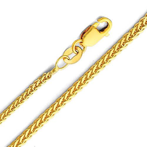14K White Gold 1mm Wheat Chain with Lobster Clasp Necklace