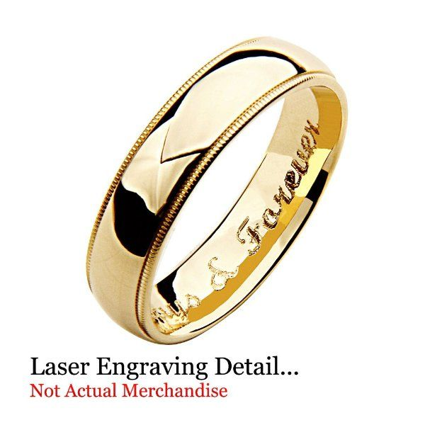 Laser Engraving Service 14k Yellow And White 2 Two Tone Gold 5mm Milgrain Wedding Band Ring For Men Rings For Men Amazon Jewelry Milgrain Wedding Bands