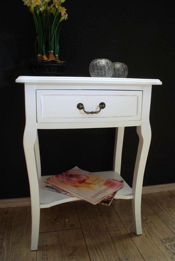 Beistelltisch antik weiß  Beistelltisch Kommode Nachttisch Tisch antik Weiß Landhaus AD65 ...