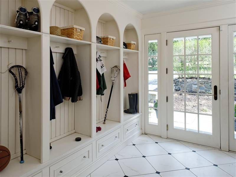 Mudroom Locker Storage Solutions With Large Open White Lockers Shelves For Additional Options
