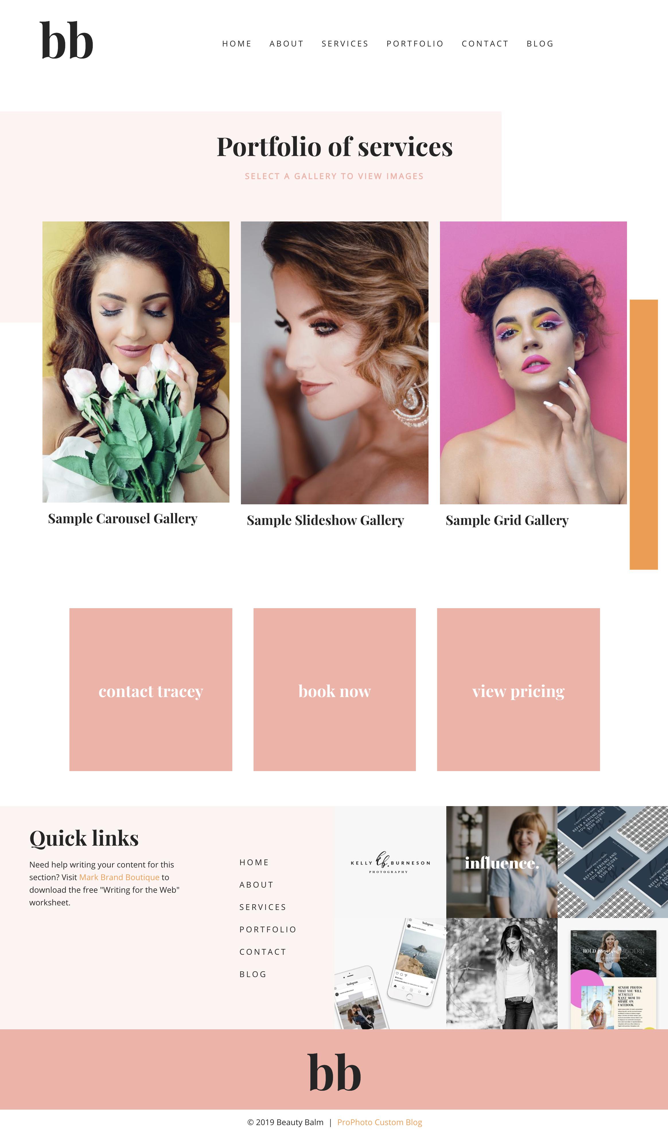 Portfolio Website Template Design For Makeup Artist Hair Stylist And Wedding Vendors Modern Feminine Wordpress Website Design Markbrandboutique Website