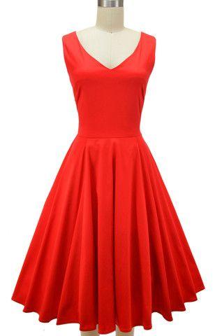 v-neck misses knee length minnie pinup sun dress - red | le bomb shop