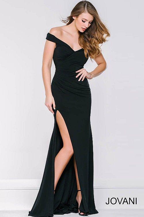 Black High Slit Off The Shoulder Dress 40582