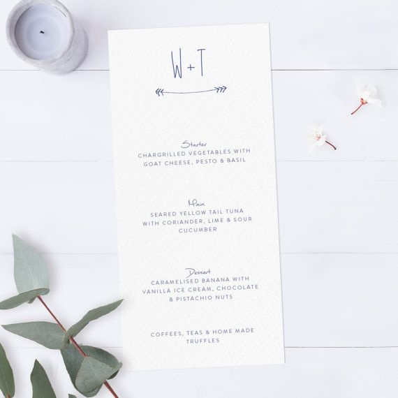 Wedding Menu Card With Arrow Wedding Menu Template Dinner Menu
