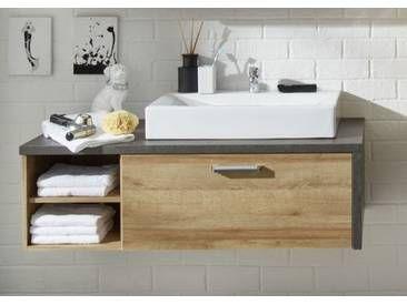 Waschbeckenunterschrank Bay Eiche Riviera Honig Und Grau Beton Design Waschtisch 1 Badezimmer Unterschrank Holz Badezimmer Unterschrank Waschbeckenunterschrank
