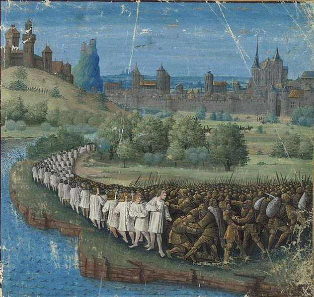Circa 1474 Jean Colombe Medieval Illuminated Manuscript Showing Peter The Hermit S People S Crusade Of 1096 Francais Les Croises De Croisade Bulgare Medieval