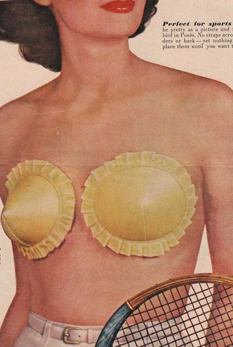 What does this crazy alternative bra remind you of? Party hats, ravioli, pot pies? They were called Poses (pronounced posies) back in 1949 and you used adhesive to stick them on. Must have been fun peeling them off. Ouch!