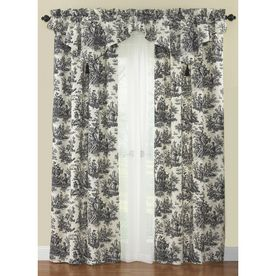 Waverly Country Life 84 In L Black Rod Pocket Curtain Panel