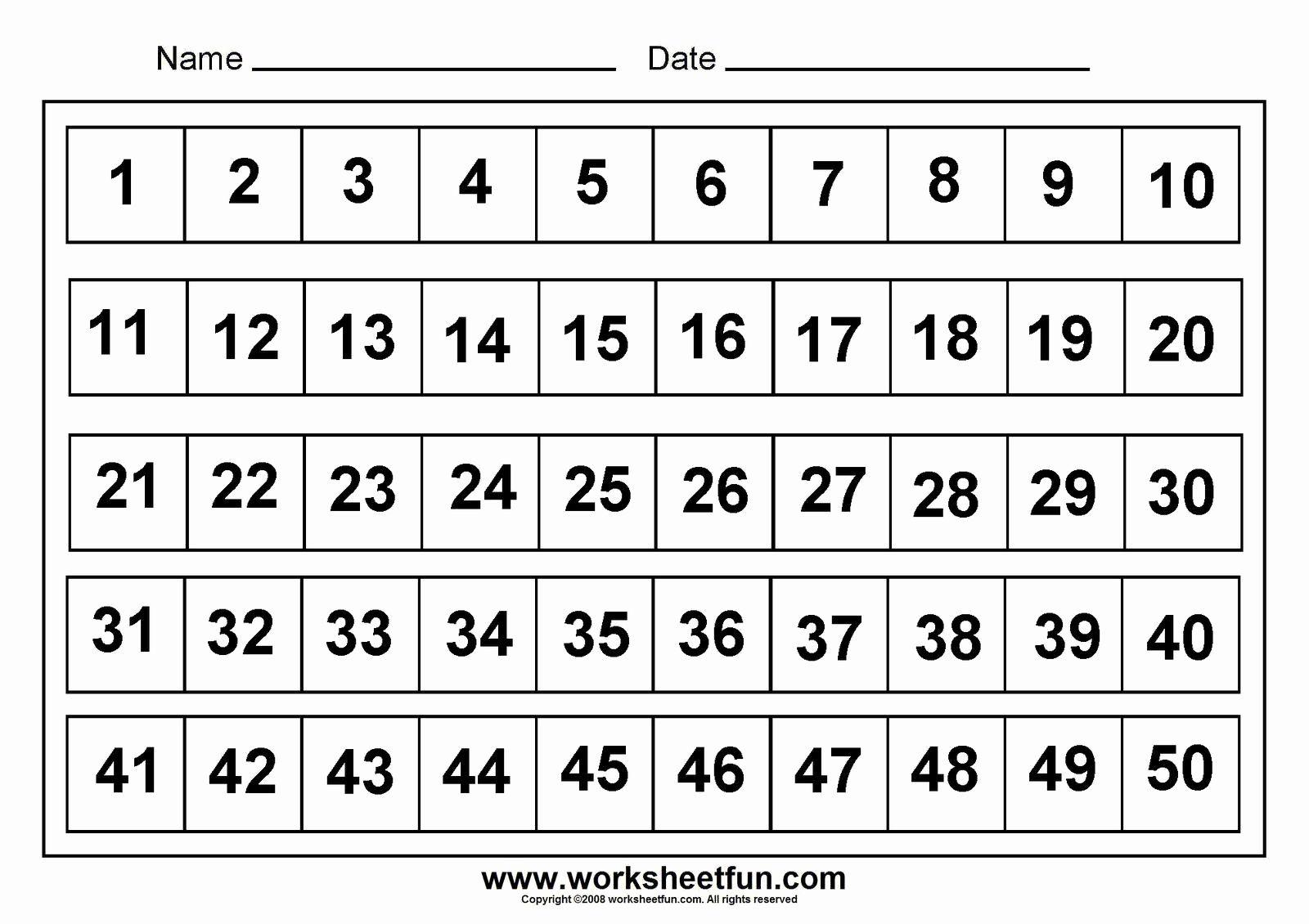 50 Number Charts Menulis Number chart worksheets half inch