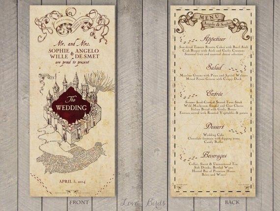 Harry Potter Wedding Menu By Sophieslovebirds