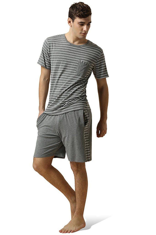 Mens Stripes Short Sleeve Cotton Pajama Nightwear Set