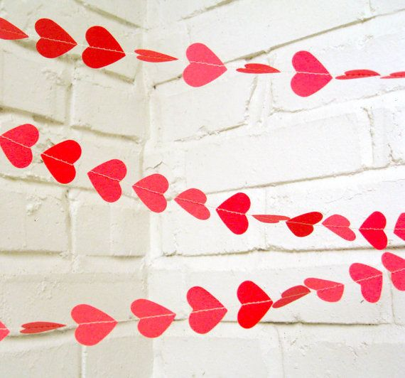 The Amore Garland, Hearts, Bright Pink,  Wedding Garland, Wedding Shower, Valentine's Day. $11.00, via Etsy.