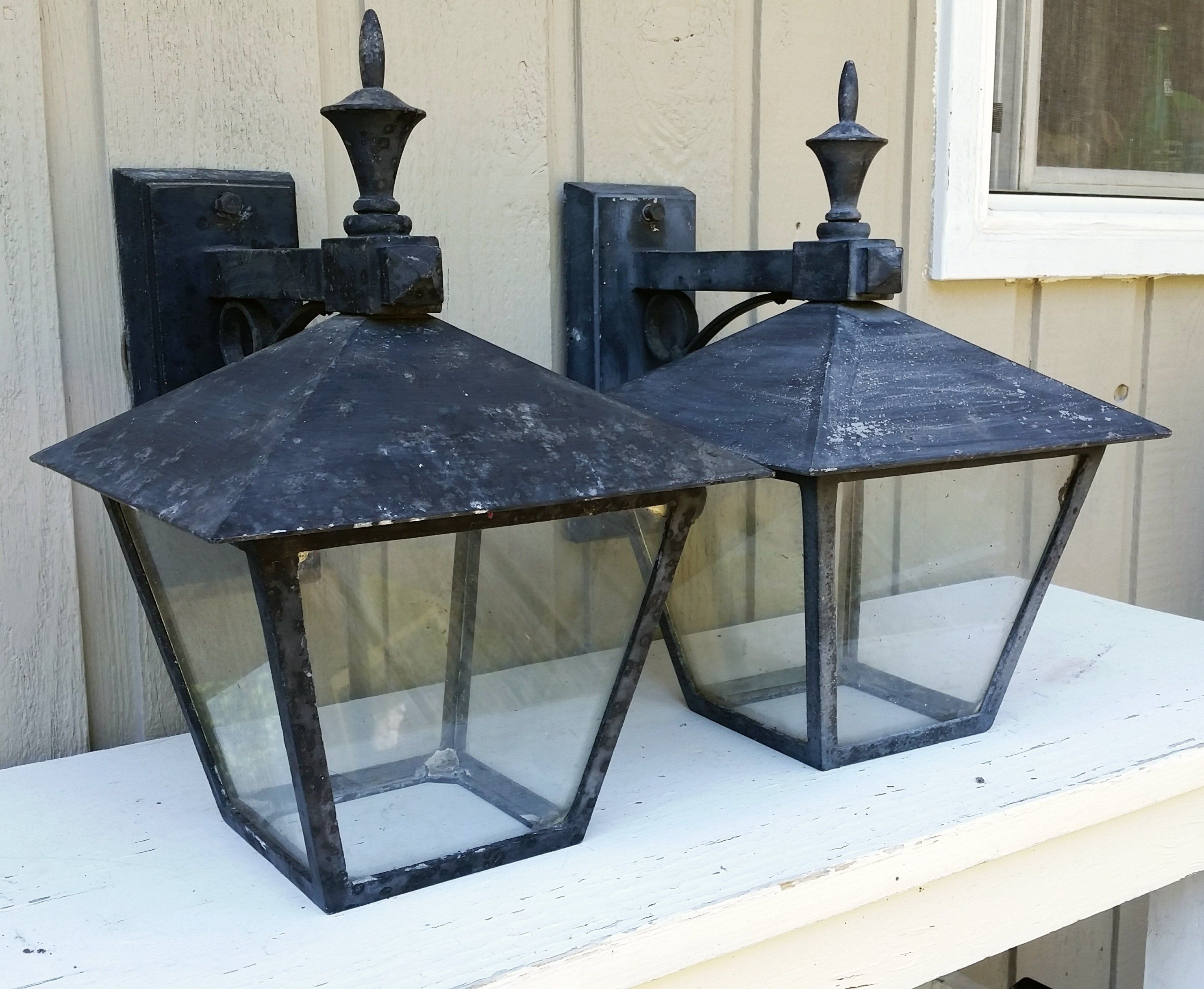 Outdoor Lamps Antique Carriage House Lights Early 1900s Wall Mount Galvanized