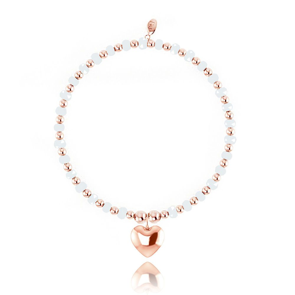 Joma Jewellery Zara bracelet white beads rose gold plated heart in