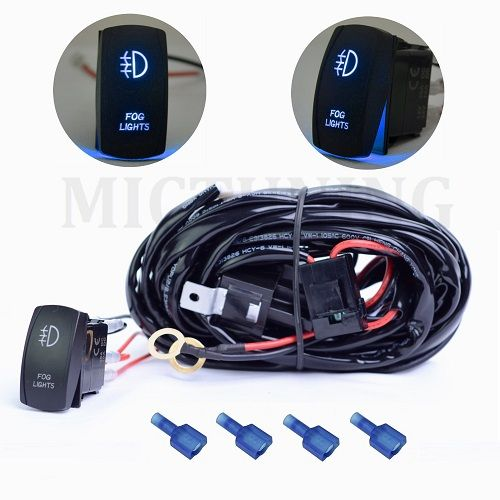 MICTUNING 2 Lead 12ft Light Bar Wiring Harness Relay Fuse ON/OFF FOG