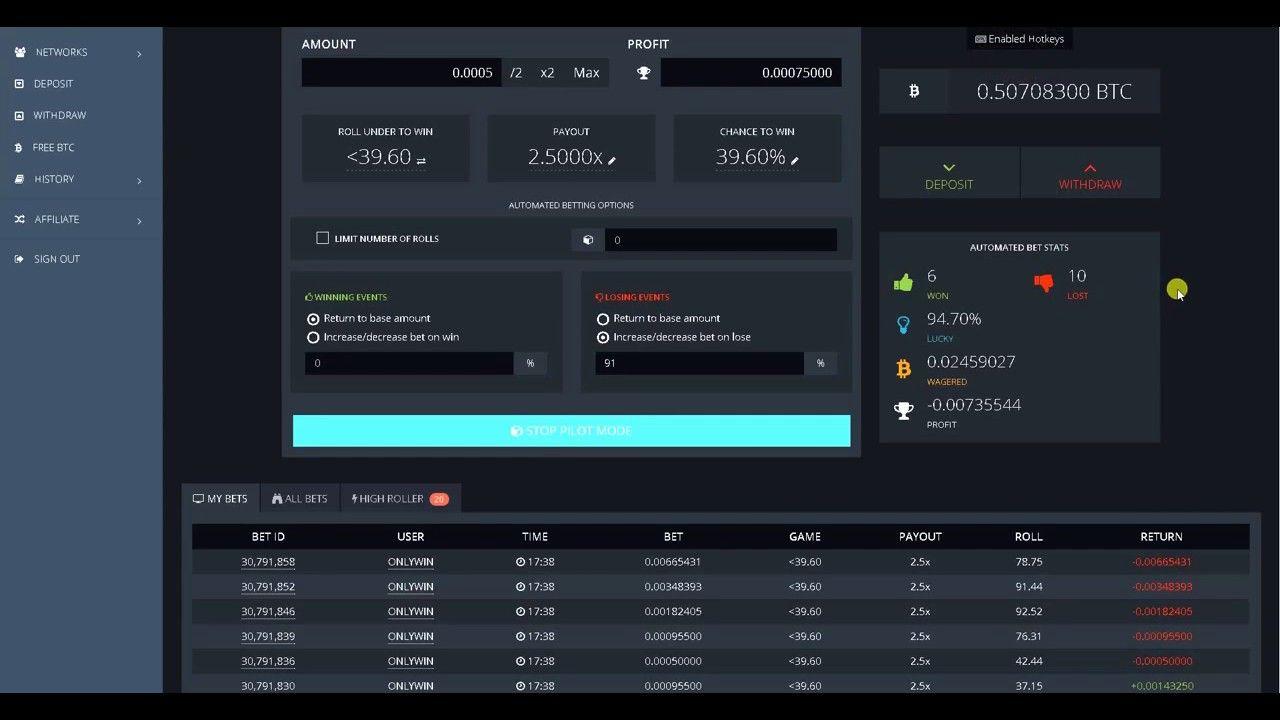 Bitcoin casino Bitsler Script Earn money (Bitsler Dice Bot