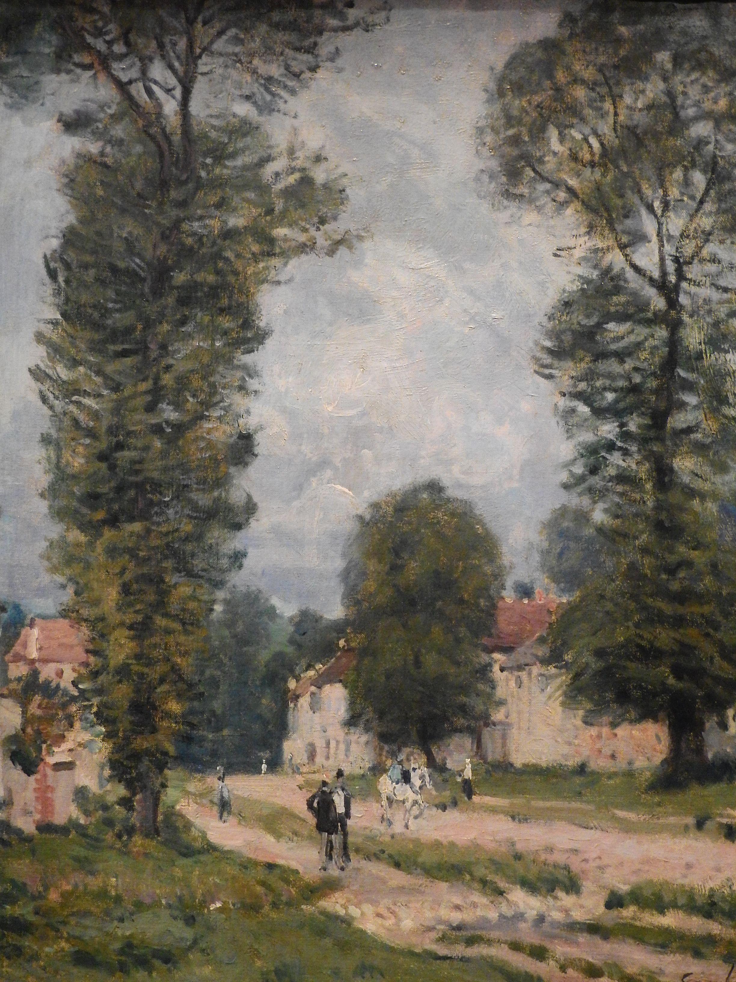 SISLEY Alfred,1875 - Route de Versailles (Orsay) - Detail -a - TAGS : details détail détails ...