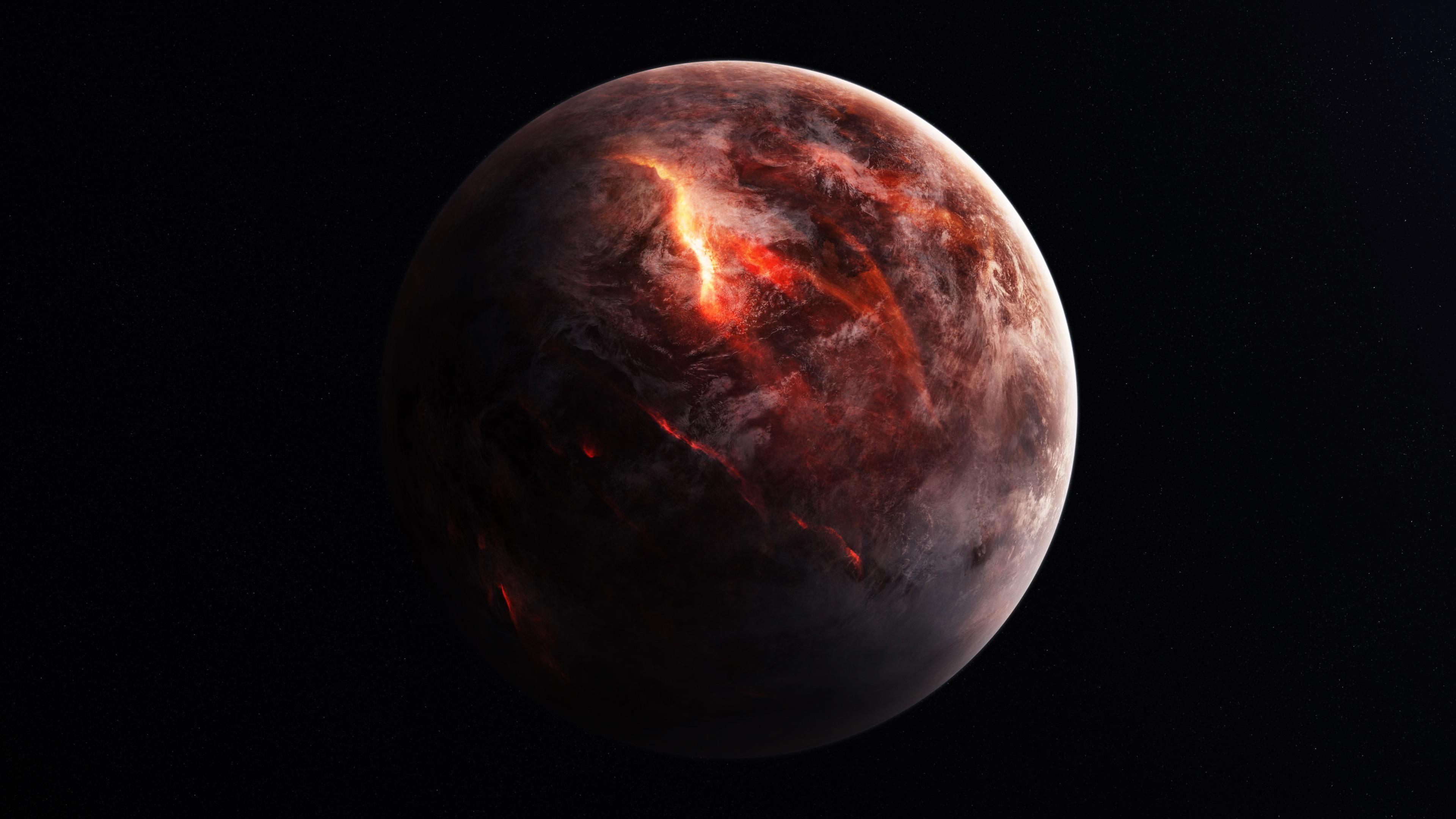 4k Fire Planet 3840x2160 Wallpaper Space Desktop Wallpaper Hd Wallpaper