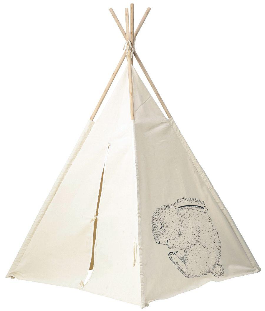 Kinder Tipi Zelt Schlafende Waldtiere Weiss H160cm Artisanat