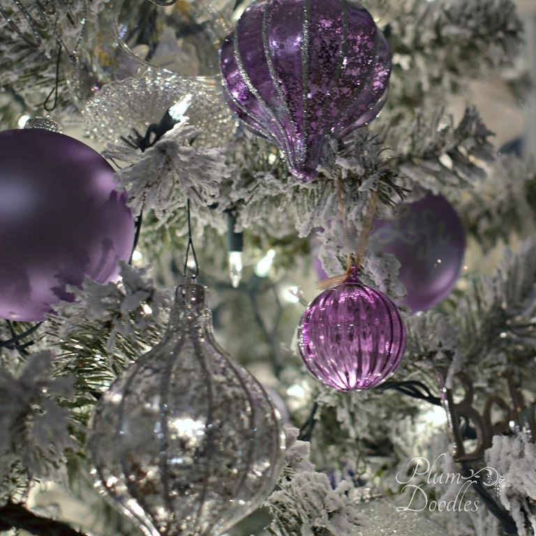 A Purple White And Silver Themed Christmas Tree Plum Doodles Purple Christmas Tree Purple Christmas Decorations Christmas Tree Themes
