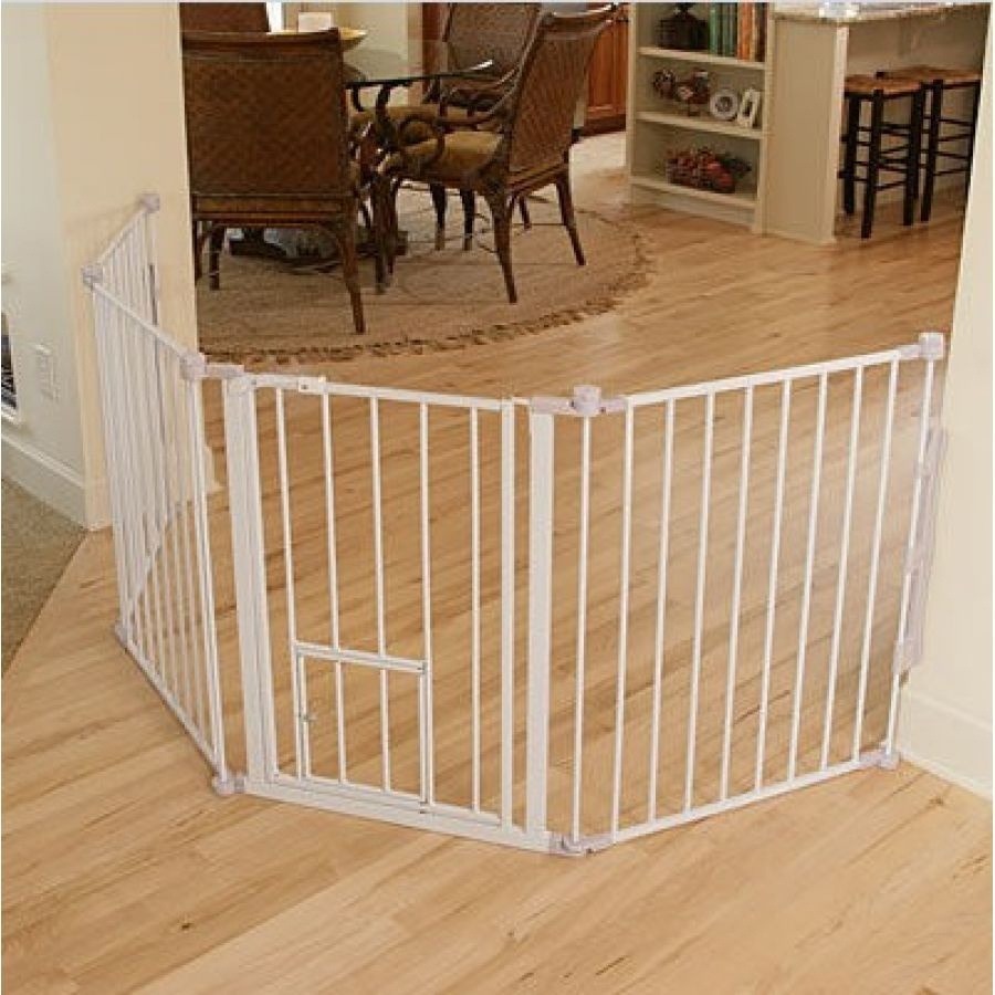 Carlson flexi walk thru gate with pet door white baby