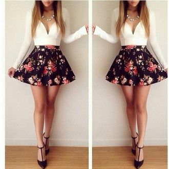 373c602bb93 white top long sleeves mini skirt statement necklace floral skirt black  skirt jewelry necklace skirt autum short skater blouse skirts and tops  jewels top ...