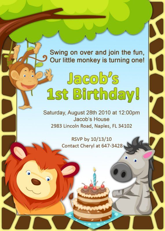 1st Birthday Jungle Invitation By PlayfulPrints On Etsy 1500
