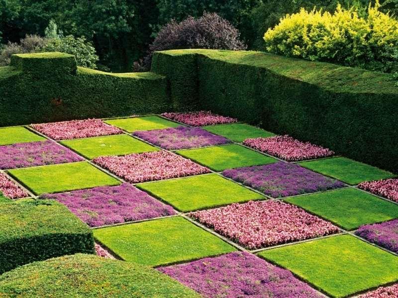 Superb Gartengestaltung in Form eines Schachbrettmusters mit Rasen und Blumen