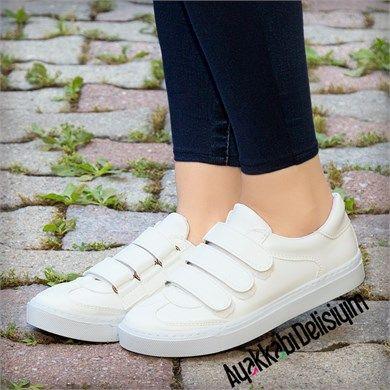 Pirit Beyaz Cirt Cirtli Spor Ayakkabi Ayakkabilar Spor Topuklular