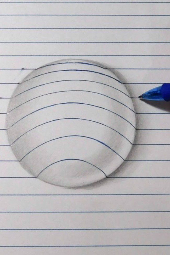 Easy How To Draw A 3d Ball Using Lines 3d Art Drawing 3d Drawings Easy Drawings