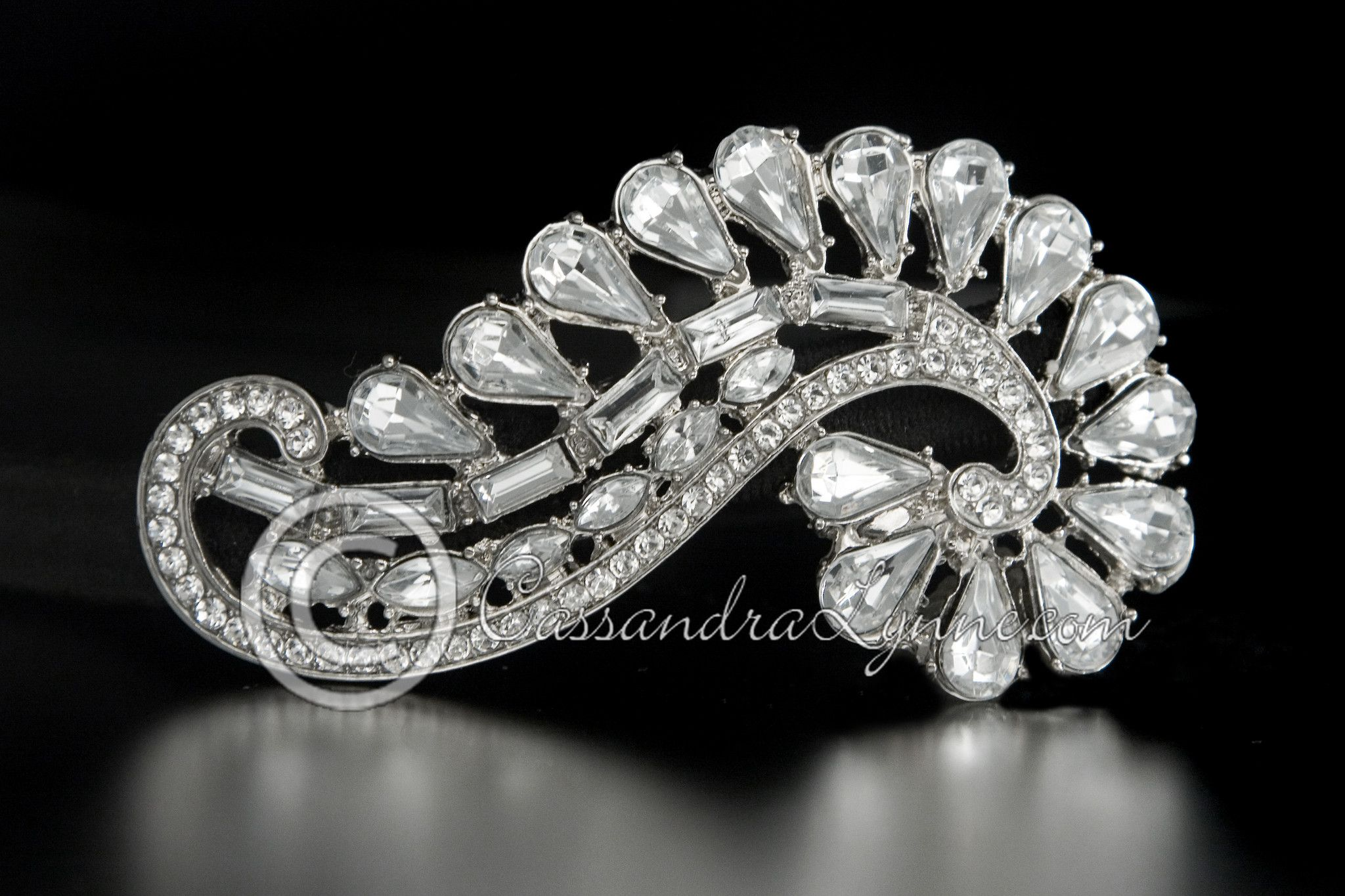 Teardrop and Baguette Jewel Wedding Headband