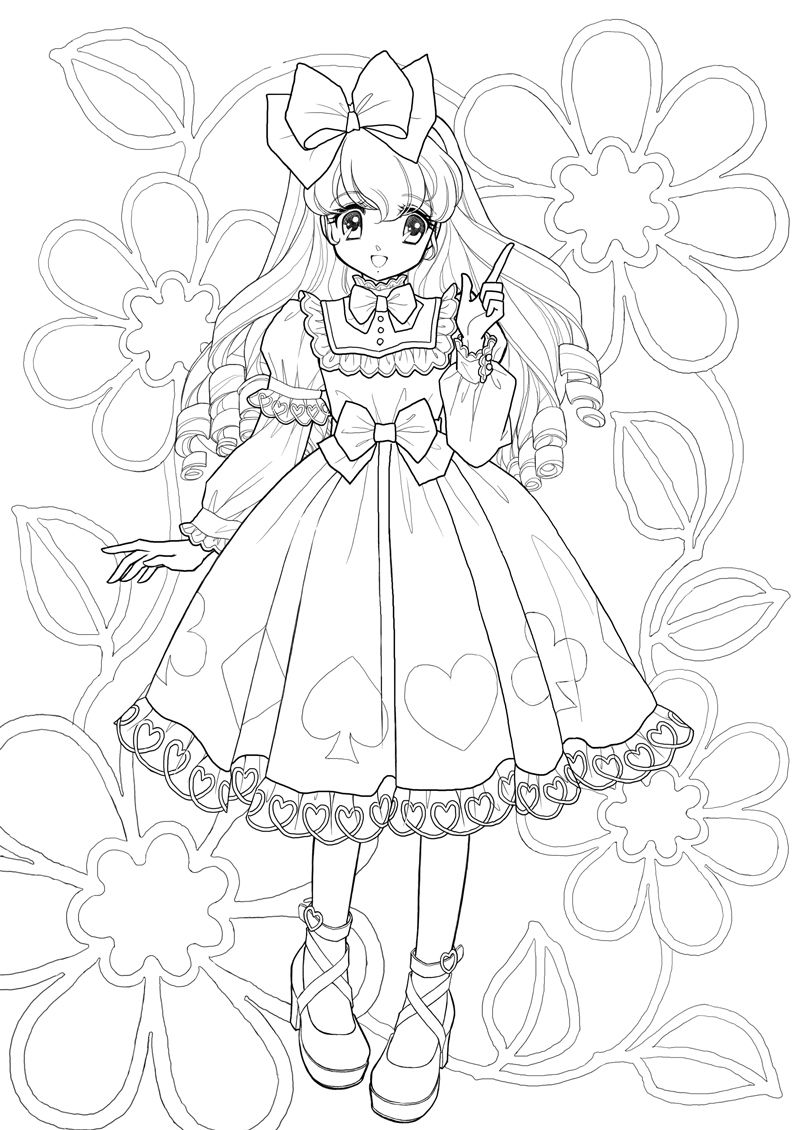 alice coloring pages nurie kawaii coloring