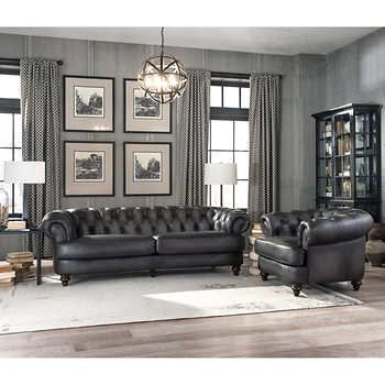 Glenbrook 2 Piece Top Grain Leather Set Sofa Chair In