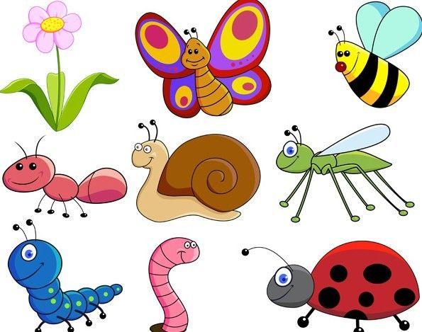 Free Set Of Cute Cartoon Insects Vector 02 Titanui Cartoon Garden Bug Cartoon Art Drawings For Kids