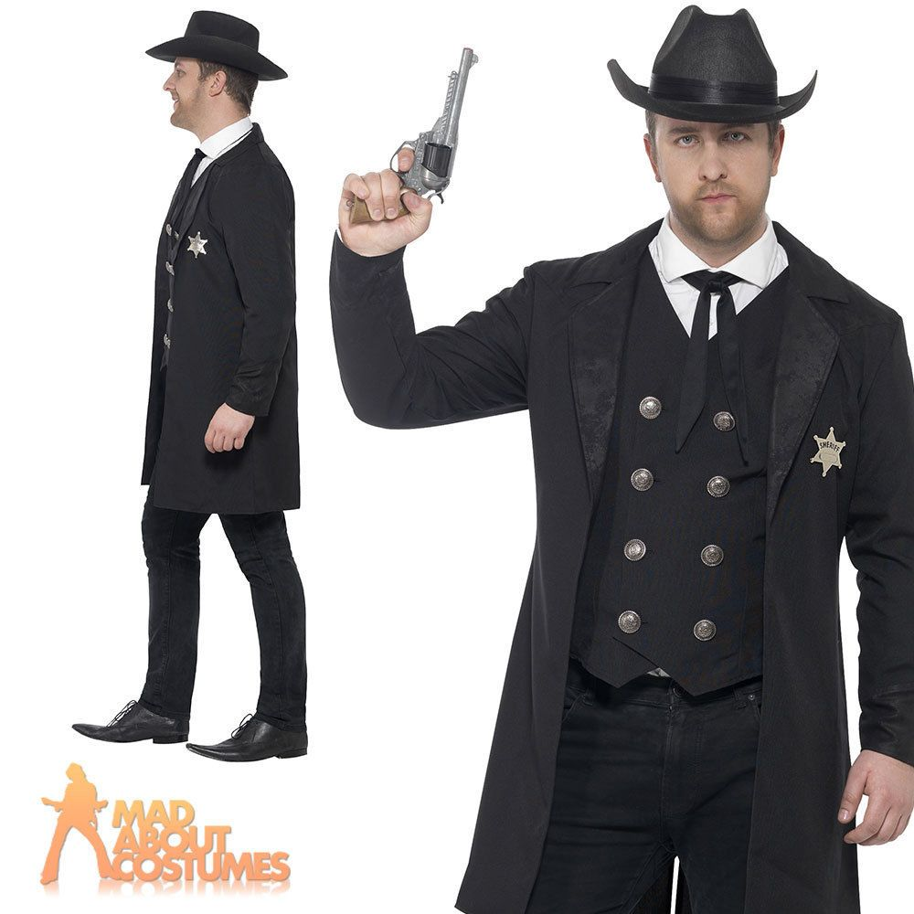 67043efb0a9 Adult Plus Size Sheriff Costume Mens Wild Western Fancy Dress Outfit New