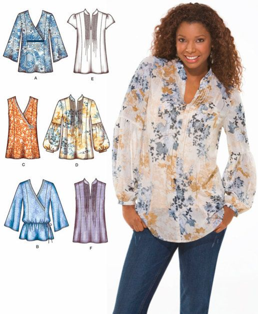 Plus Size TUNIC TOP Sewing Pattern - Peasant Boho Tops - Sizes 14-22 ...